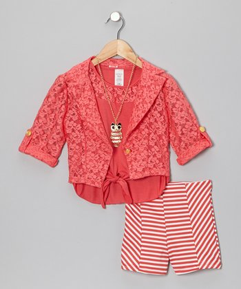 Coral Stripe Skirt Set