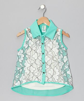 Mint & White Flower Button-Up & Camisole