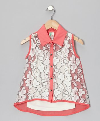 Coral & White Flower Button-Up & Camisole