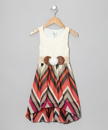 White & Coral Lace Zigzag Hi-Low Dress