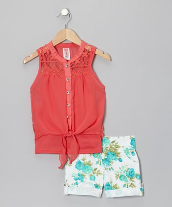 Coral & White Primrose Shorts Set