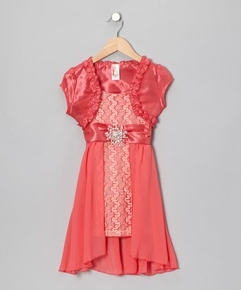 Coral Brooch Shrug Dress