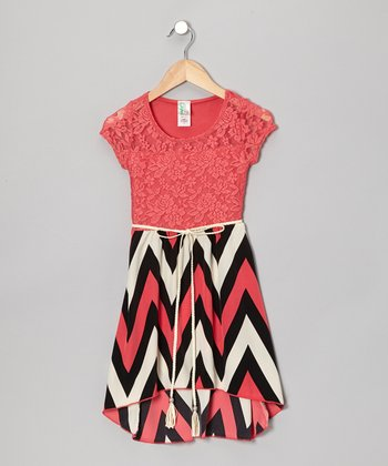 Coral Zigzag Hi-Low Dress