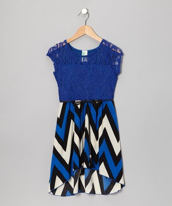 Royal Blue Zigzag Belted Hi-Low Dress