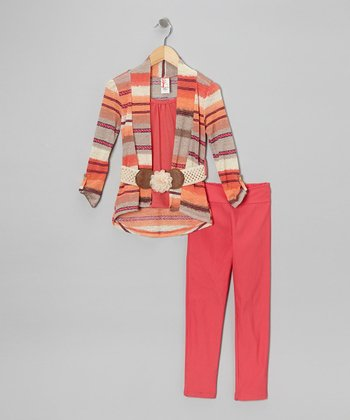 Coral Stripe Pants Set