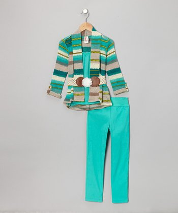 Mint Stripe Pants Set