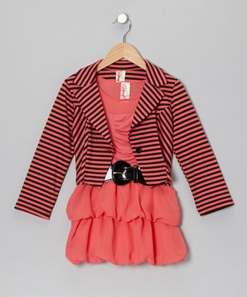 Coral Stripe Dress & Jacket