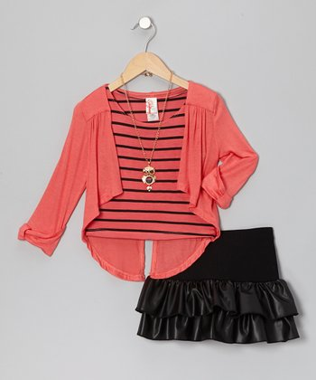 Orange & Black Ruffle Skirt Set