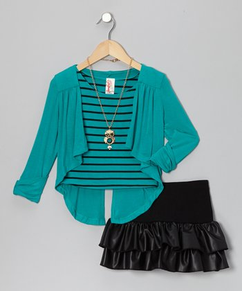 Jade & Black Ruffle Skirt Set