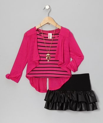 Fuchsia & Black Ruffle Skirt Set