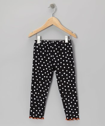Black & White Polka Dot Leggings - Toddler & Girls
