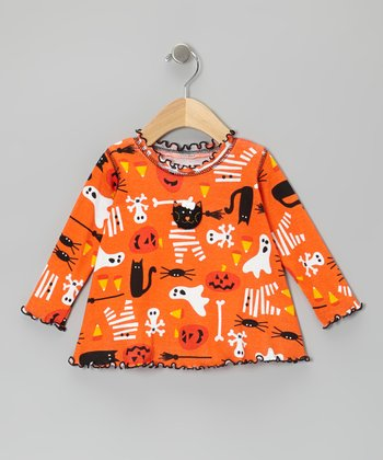 Orange Halloween Things Swing Top - Infant, Toddler & Girls