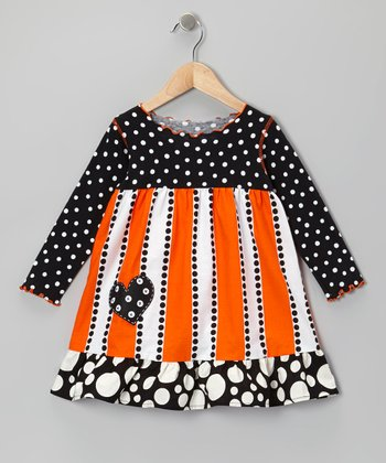Orange & Black Stripe Ruffle Dress - Infant, Toddler & Girls