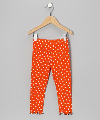 Orange & White Polka Dot Leggings - Infant, Toddler & Girls