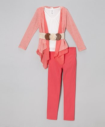 Coral Stripe Open Cardigan Set