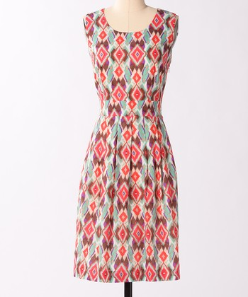 Blue & Pink Ikat Dress