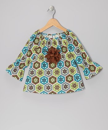 Brown & Green Floral Peasant Top - Toddler & Girls