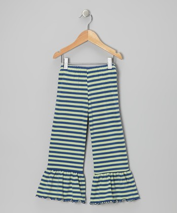 Navy & Green Stripe Flounce Pants - Toddler & Girls