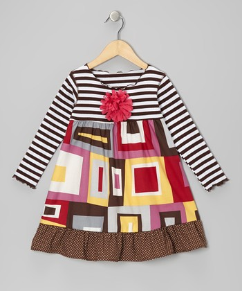 Red & Yellow Mod Square Ruffle Swing Dress - Toddler & Girls