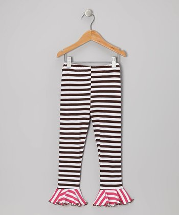 Brown & Pink Stripe Flounce Leggings - Toddler & Girls