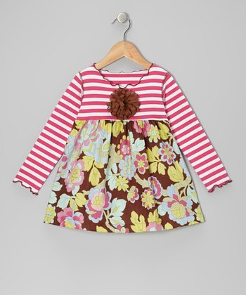 Brown Floral Lettuce Swing Top - Girls