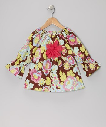 Brown Floral Peasant Top - Toddler & Girls
