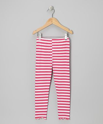 Pink & White Stripe Leggings - Toddler & Girls