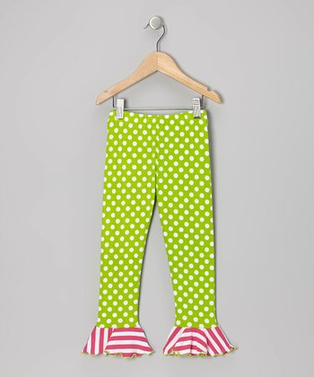 Green & Pink Dot & Stripe Flounce Leggings - Toddler & Girls