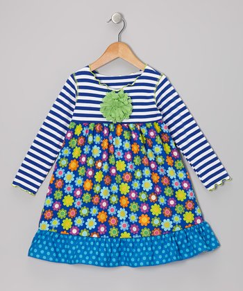 Royal Blue Blossom Ruffle Swing Dress - Toddler