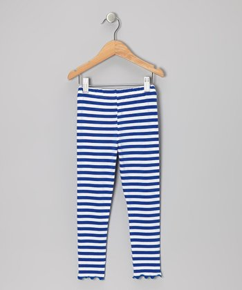 Royal Blue Stripe Leggings - Toddler & Girls