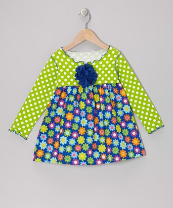 Royal Blue & Lime Blossom Lettuce Swing Top - Toddler & Girls