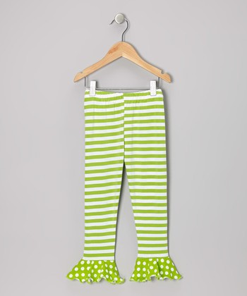 Green Stripe & Dots Flounce Leggings - Toddler & Girls