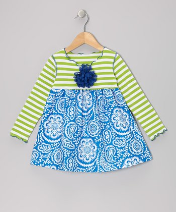 Royal Blue & Green Vine Lettuce Swing Top - Toddler & Girls