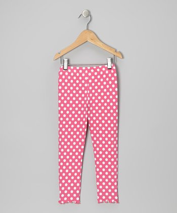 Pink Polka Dot Leggings - Toddler