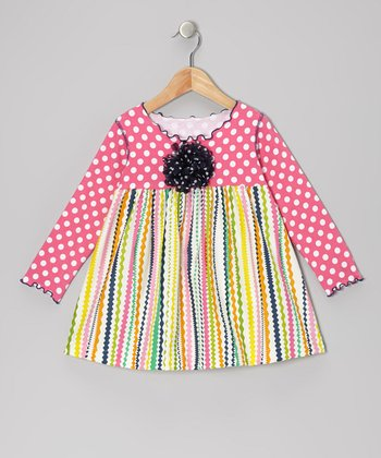 Pink Rickrack Lettuce Swing Top - Toddler & Girls