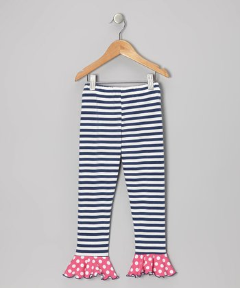 Navy & Pink Stripe Flounce Leggings - Toddler & Girls