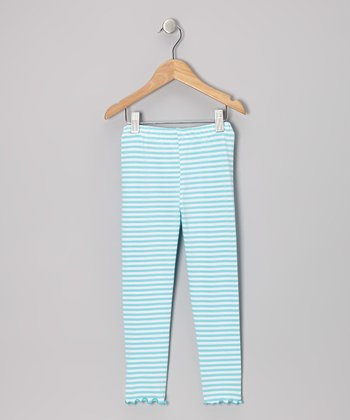 Aqua Stripe Leggings - Toddler & Girls