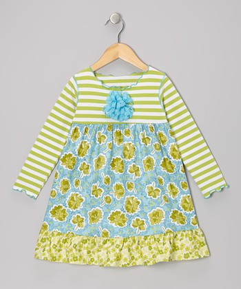Aqua & Green Floral Ruffle Swing Dress - Toddler & Girls