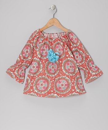Pink & Coral Medallion Peasant Top - Toddler & Girls