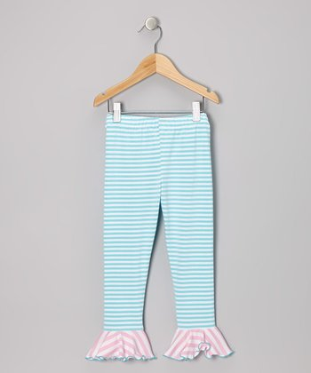 Aqua & Pink Stripe Flounce Leggings - Toddler & Girls