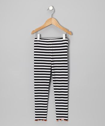 Black & White Wide Stripe Leggings - Toddler & Girls
