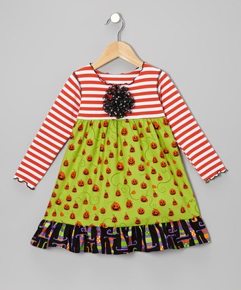 Green & Orange Jack-o'-Lantern Swing Dress - Toddler & Girls