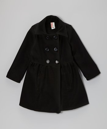 Black Double-Breasted Peacoat - Girls