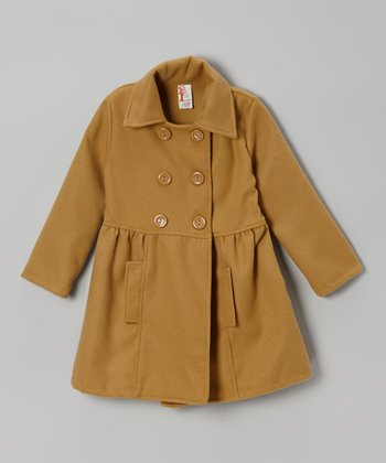 Khaki Double-Breasted Peacoat - Girls