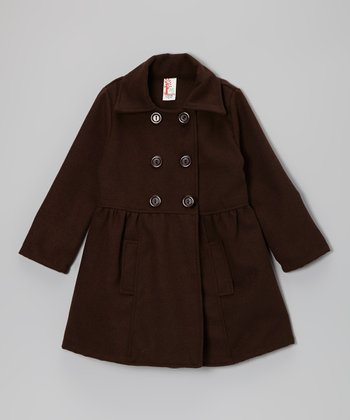 Brown Double-Breasted Peacoat - Girls