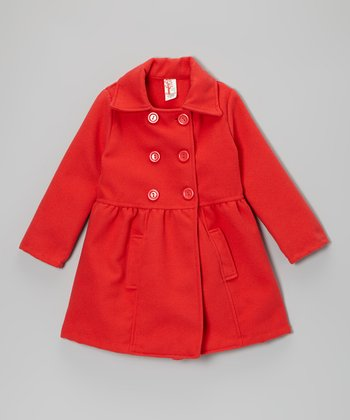 Coral Double-Breasted Peacoat - Girls