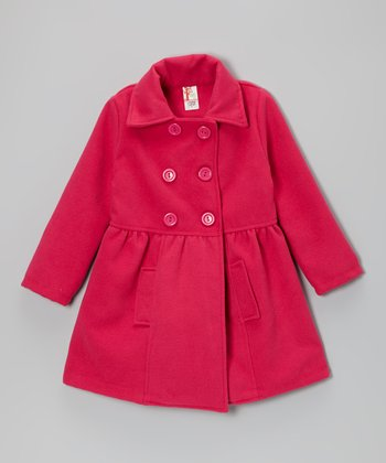 Pink Double-Breasted Peacoat - Girls