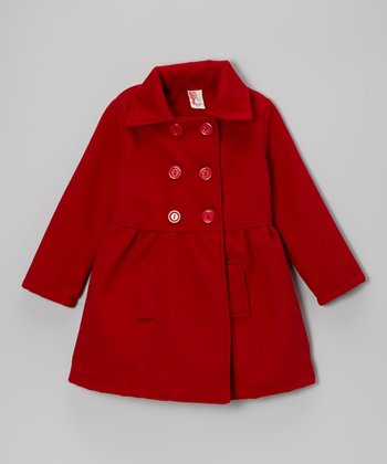 Red Double-Breasted Peacoat - Girls