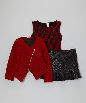 Red & Black Lace Skirt Set
