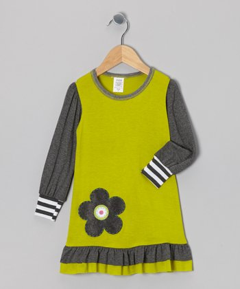 Chartreuse & Gray Ruffle Dress - Toddler & Girls